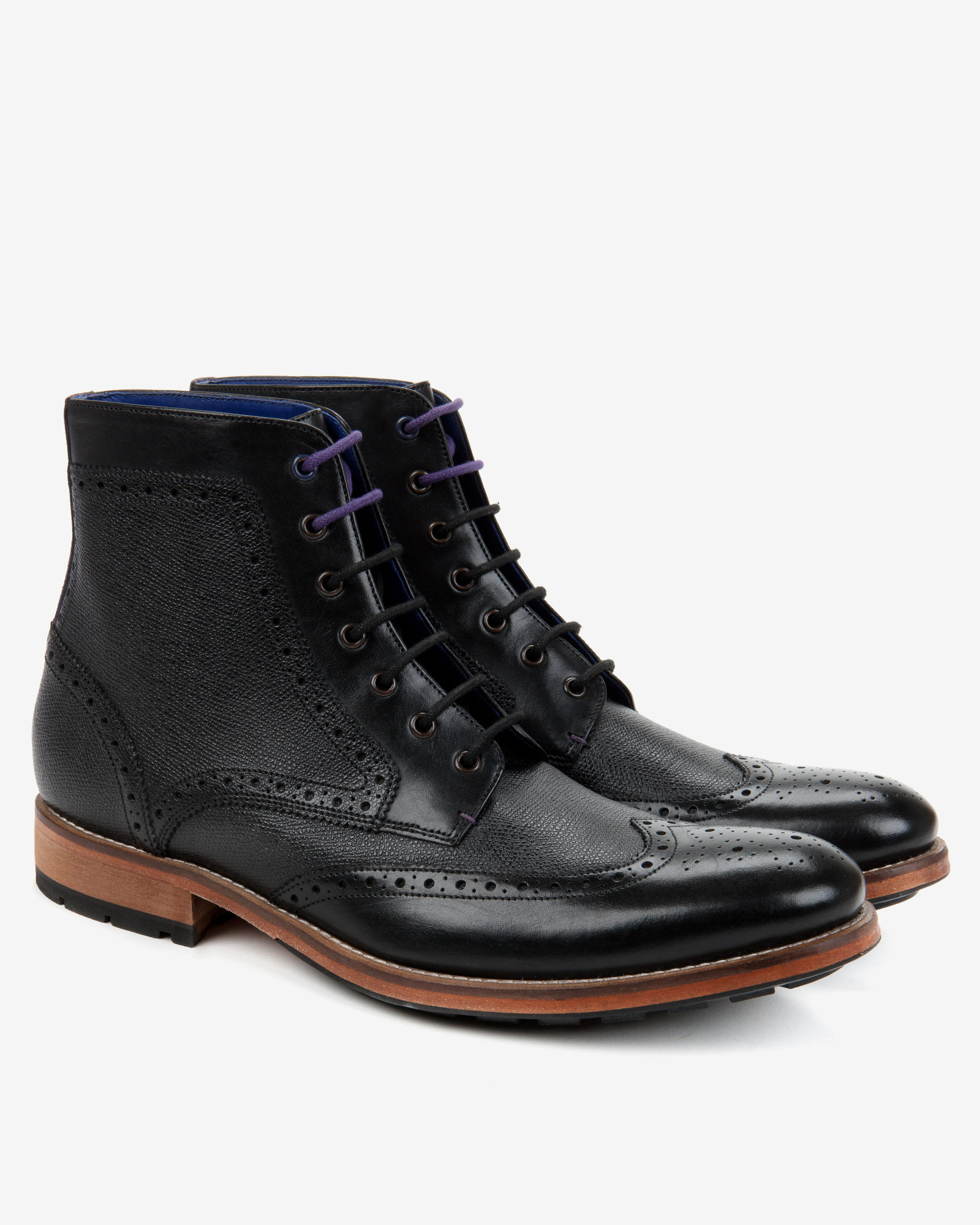ted baker leather wingtip brogue ankle boots in black for