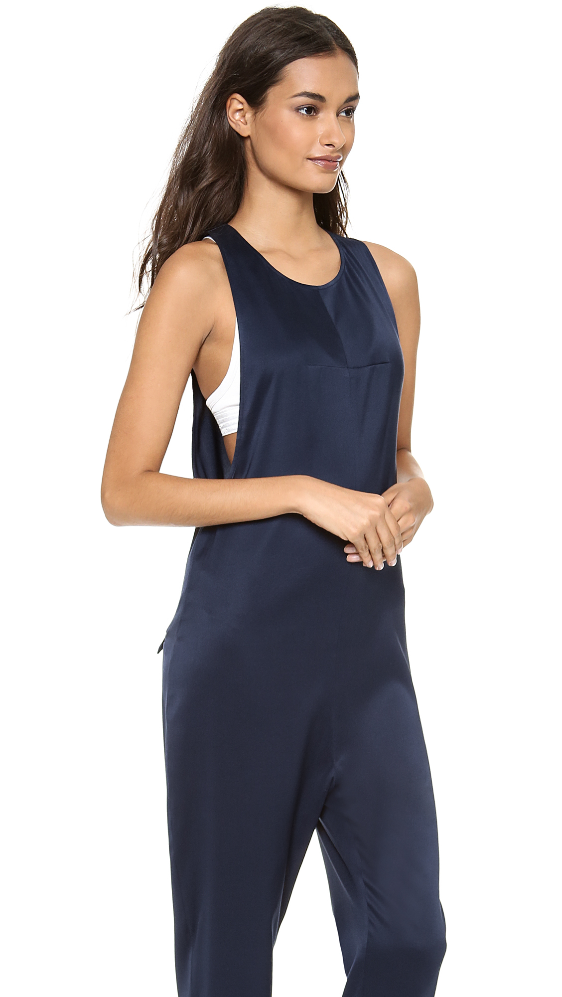 t by alexander wang sleeveless jumpsuit in blue ink lyst. Black Bedroom Furniture Sets. Home Design Ideas