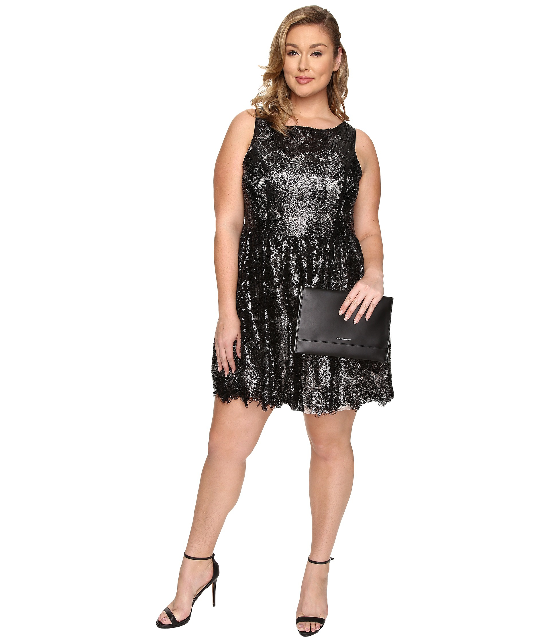 bb dakota plus size hart sequin lace dress in black | lyst