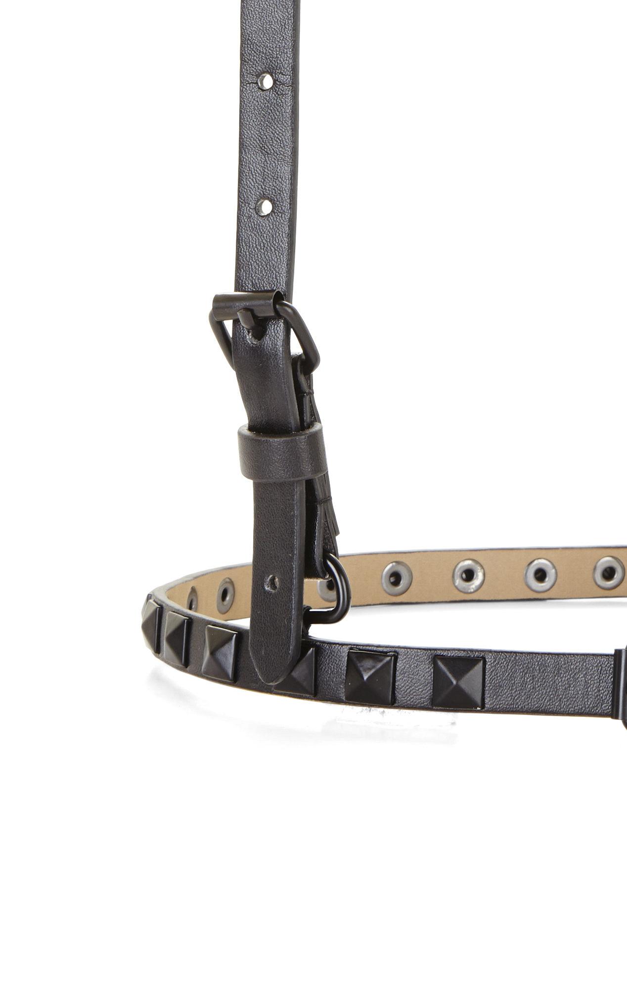 bcbgmaxazria studded suspender harness waist belt in black