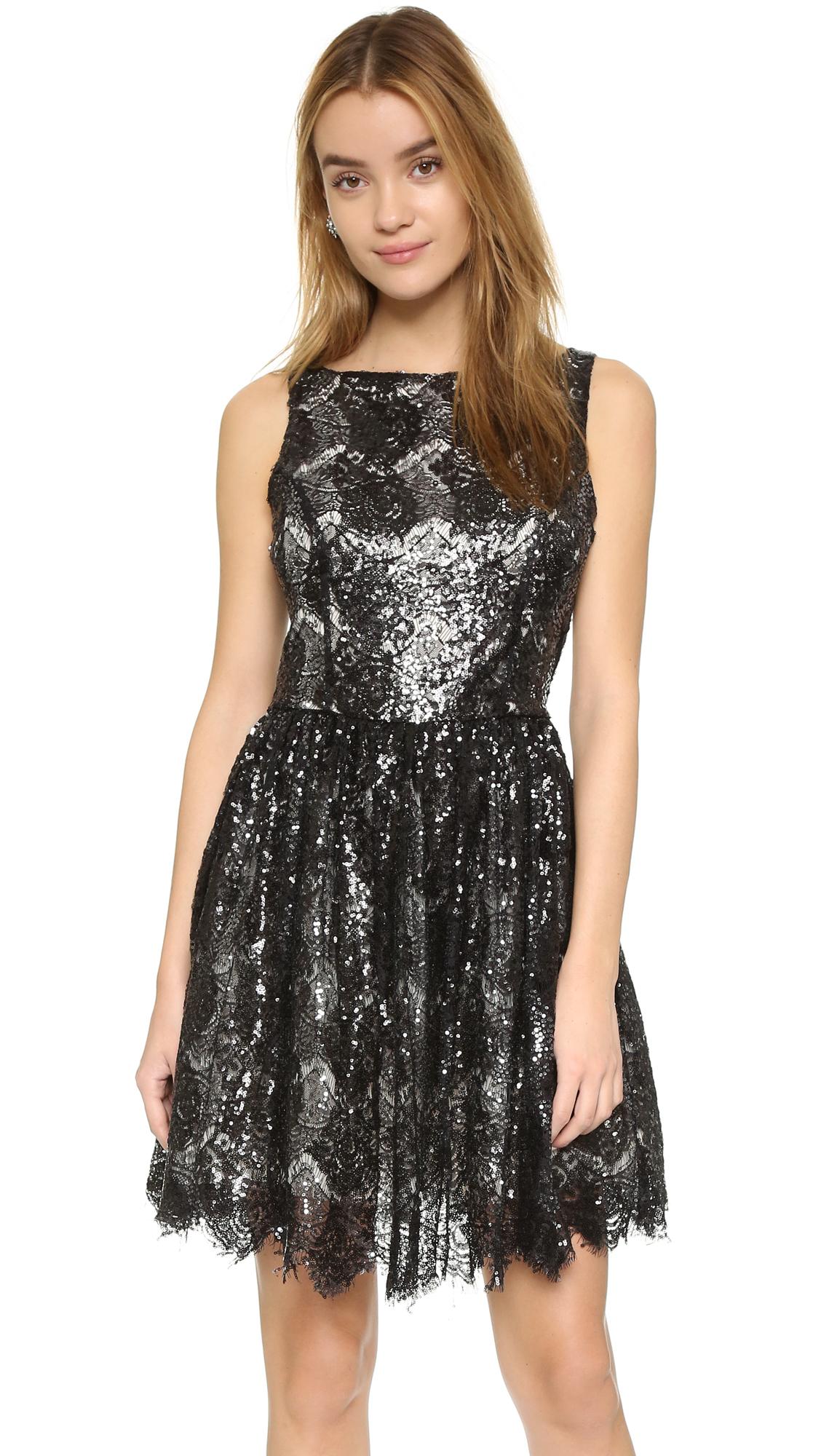 Bb dakota Sabrina Sequin Lace Dress in Black