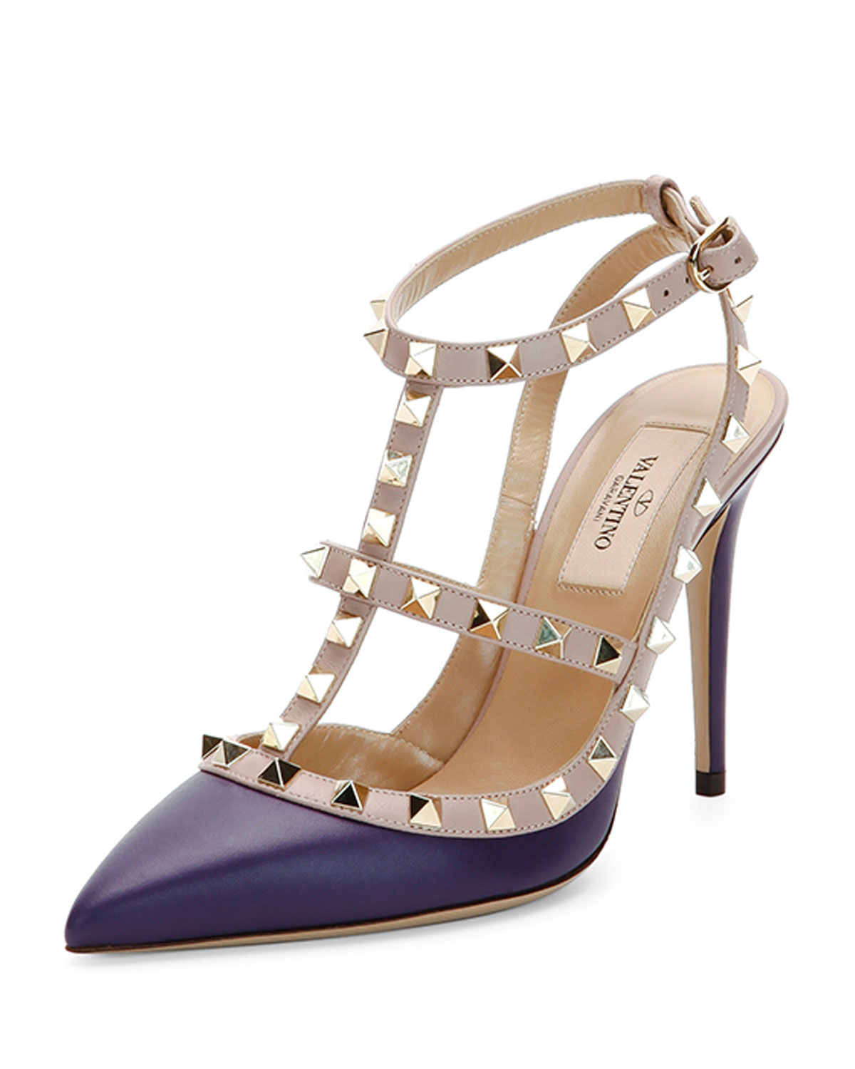 bcad1b876f9 Valentino Blue Rockstud Two-Tone Leather Pump