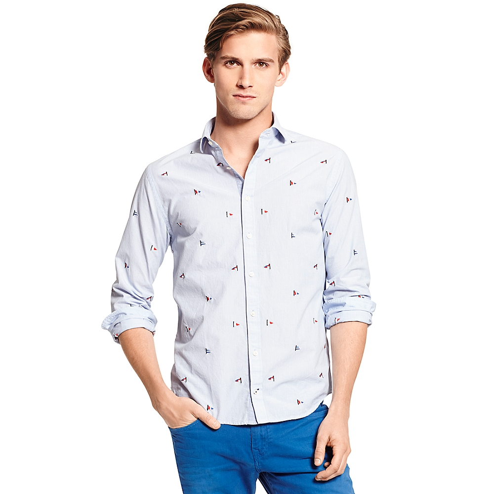 Tommy Hilfiger New York Fit Embroidered Flag Shirt In Blue