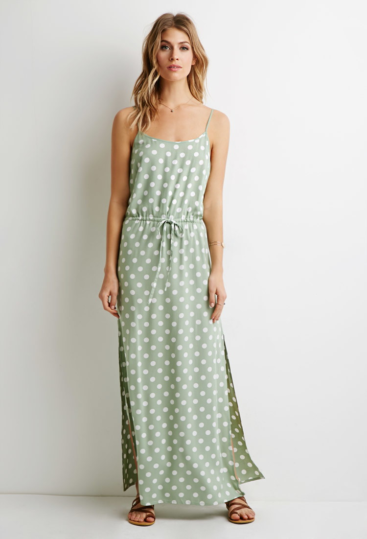 Forever 21 Contemporary Polka Dot Maxi Dress In Gray Lyst