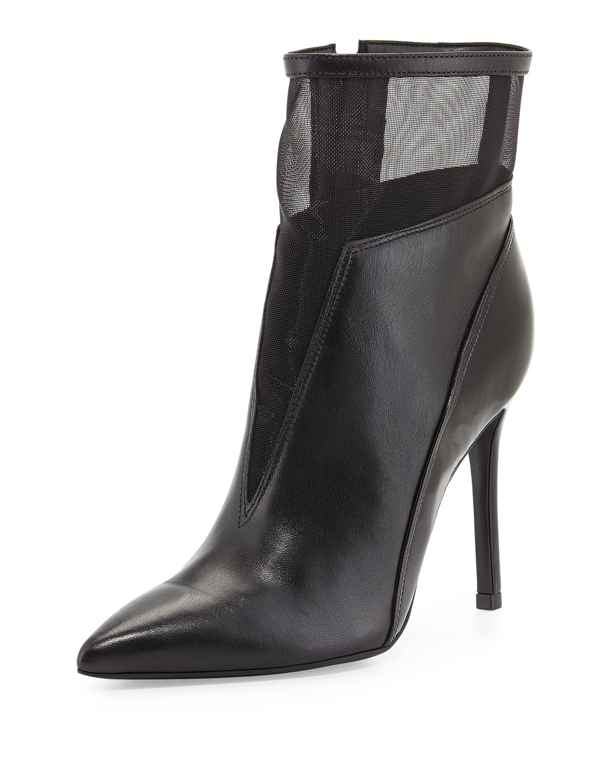 Schutz Neia Leather/mesh Ankle Boot in Black | Lyst