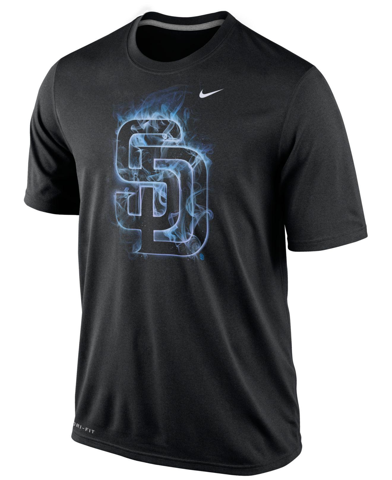 Nike men 39 s san diego padres legend vapor t shirt in black for T shirt screen printing san diego