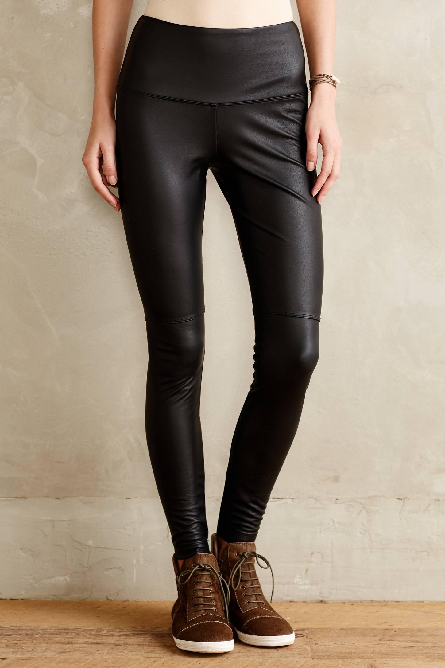 Lyssé Seamed Vegan Leather Leggings in Black | Lyst