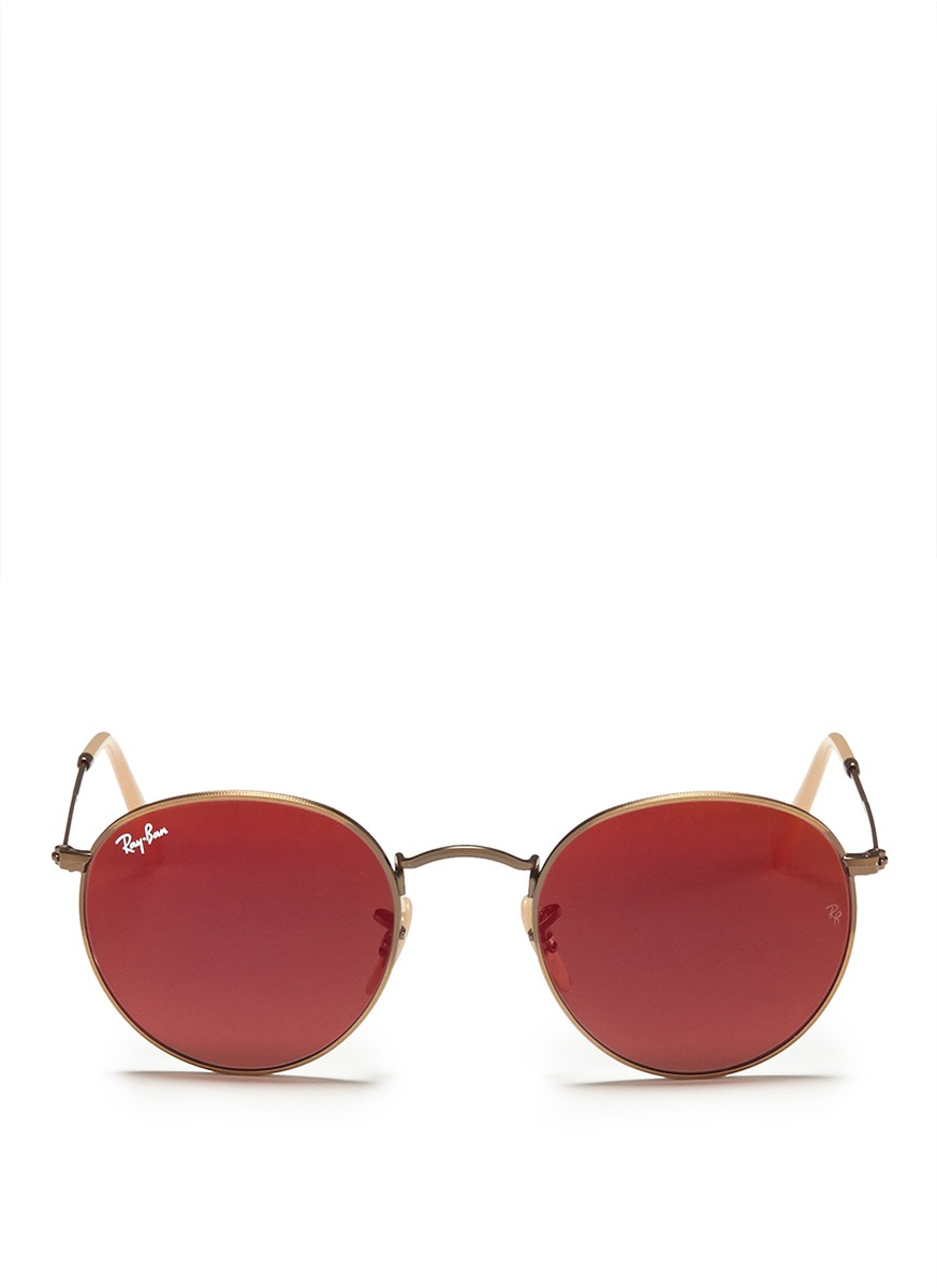 ray ban mirror glasses  Ray-ban Round Metal Mirror Sunglasses in Red
