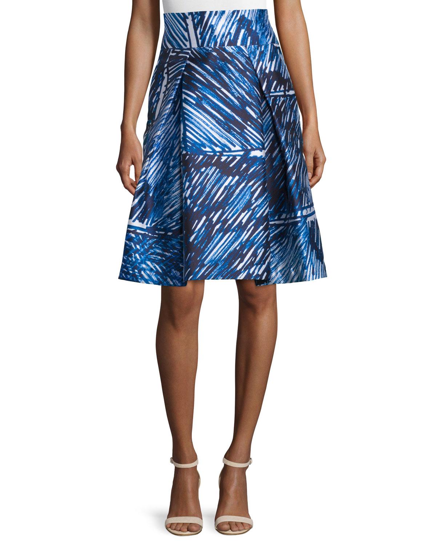 milly scribble print midi skirt in blue lyst