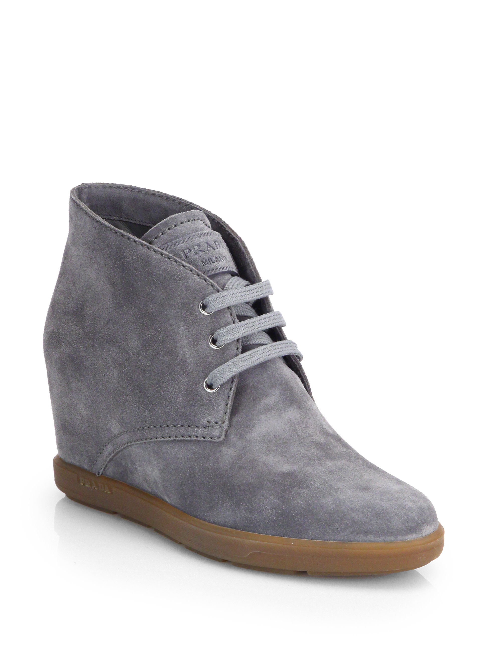 prada suede wedge ankle boots in gray lyst