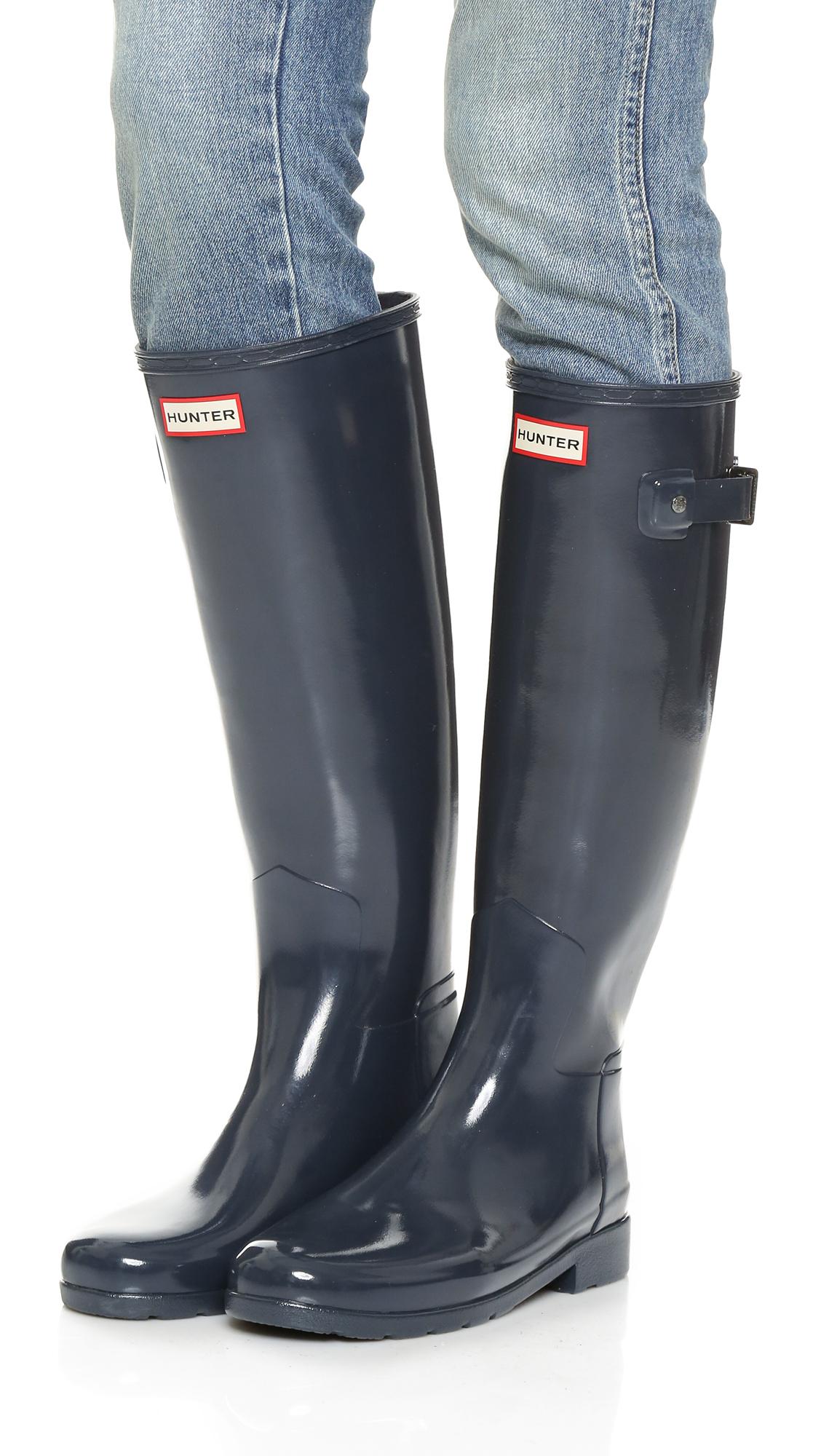 43f75ae3aa5 HUNTER Blue Original Refined Gloss Boots