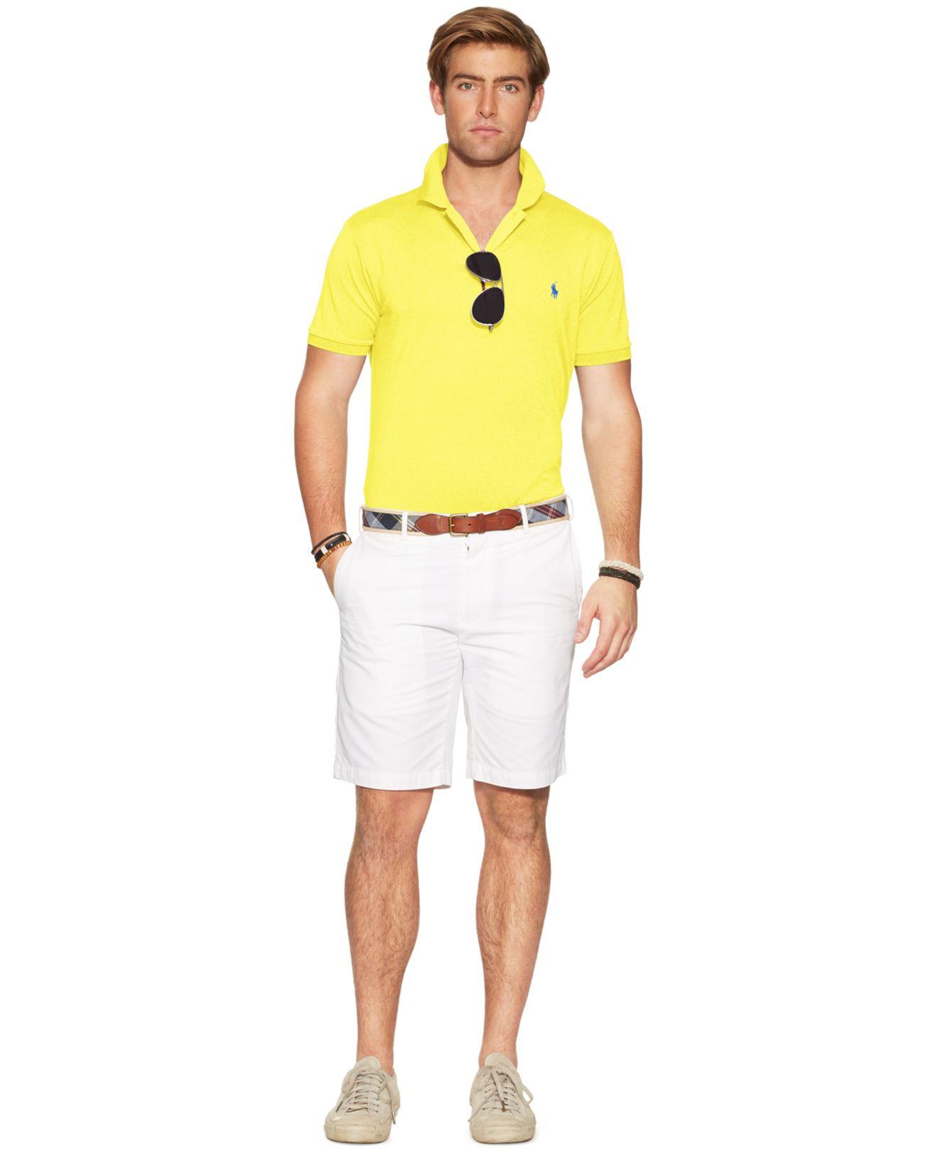 8bdb6e4f8972d ... reduced lyst polo ralph lauren performance mesh polo shirt in yellow  for men f27bb c97f8 ...