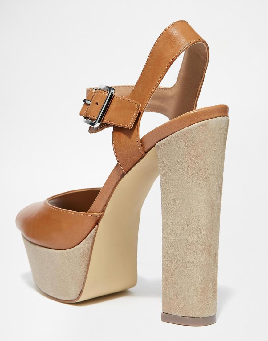9b9d746eb102 Lyst - Steve Madden Jillyy Tan Platform Heeled Sandals in Brown