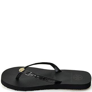 0bd99fb8c1b12 Tory Burch Adia Flip Flop Black Glitter Thong Sandal in Black - Lyst