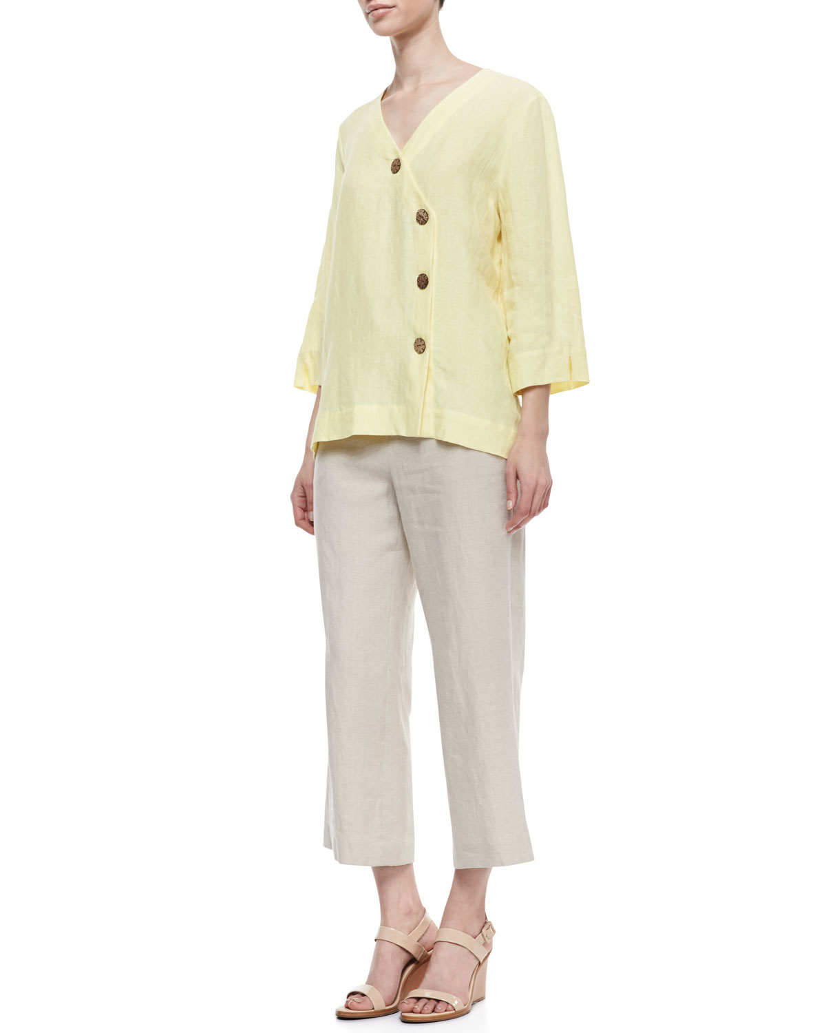 Neiman marcus Casual Linen Ankle Pants in Natural | Lyst