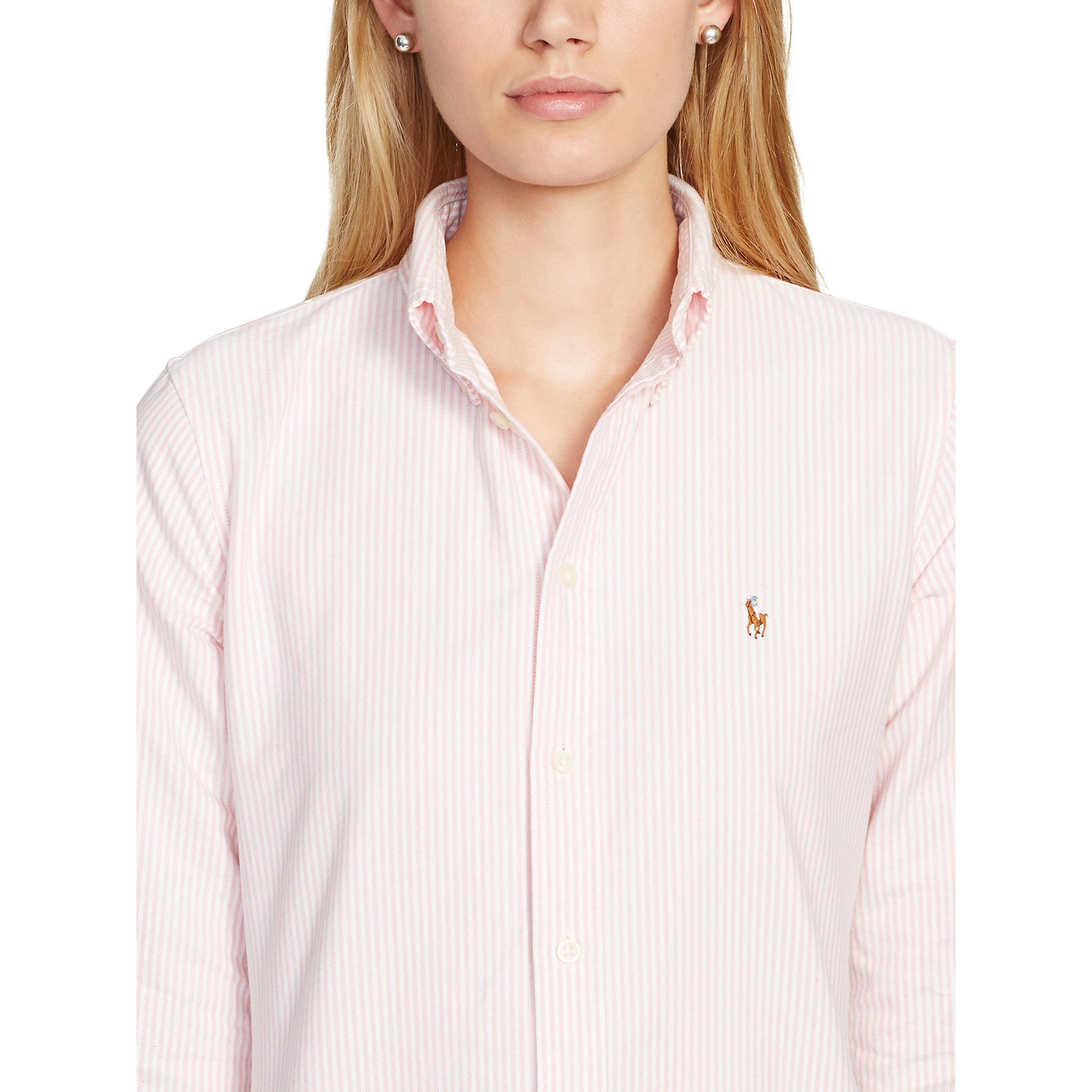 Lyst polo ralph lauren custom fit striped shirt in pink for Pink and white ralph lauren shirt