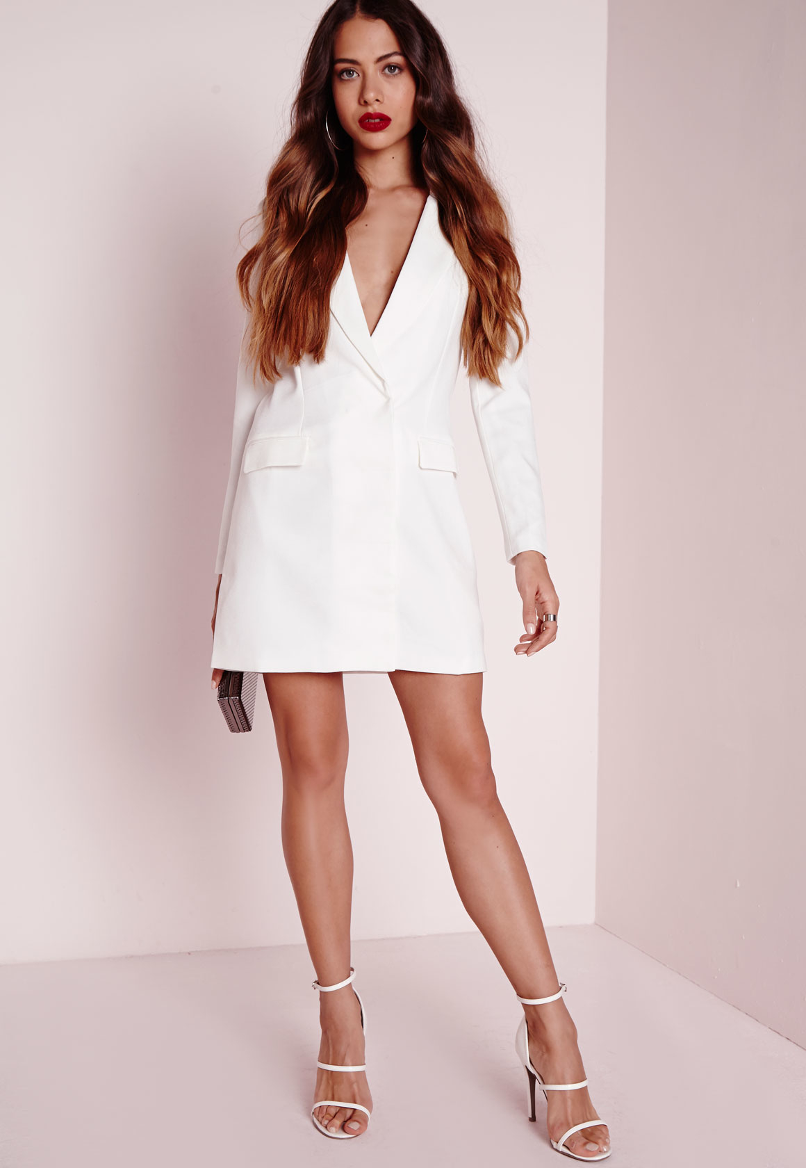 Lyst Missguided Long Sleeve Blazer Dress White In White