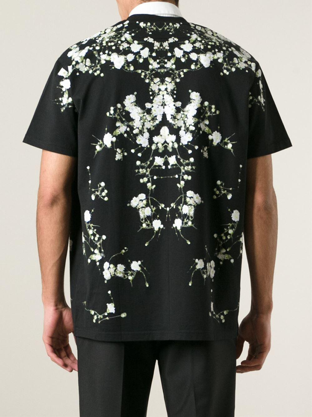 givenchy columbian fit floral print t shirt in black for men lyst. Black Bedroom Furniture Sets. Home Design Ideas