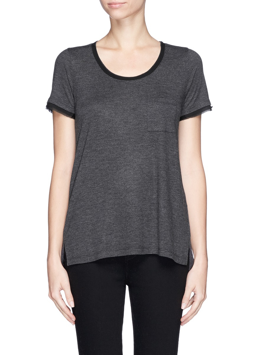 Vince silk chiffon trim jersey t shirt in black lyst for Vince tee shirts sale