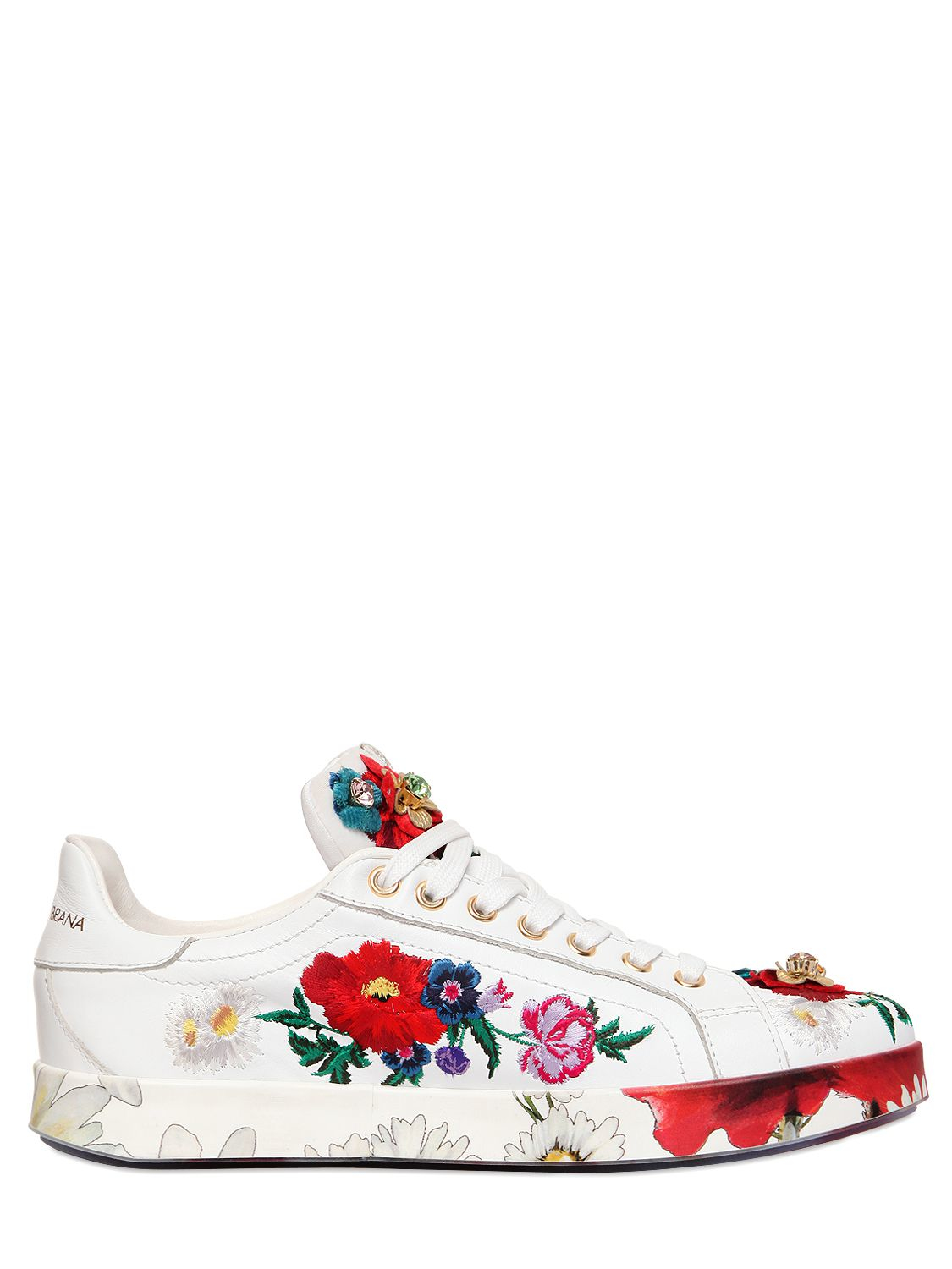 dolce gabbana 20mm floral embellished leather sneakers