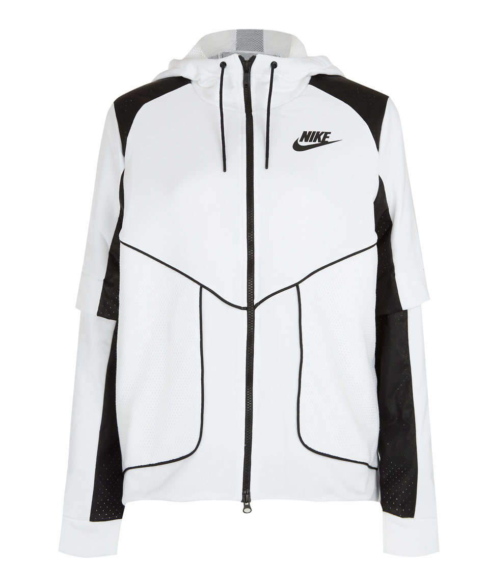 Nike White Perforated Full-zip Hoodie Jacket in White | Lyst
