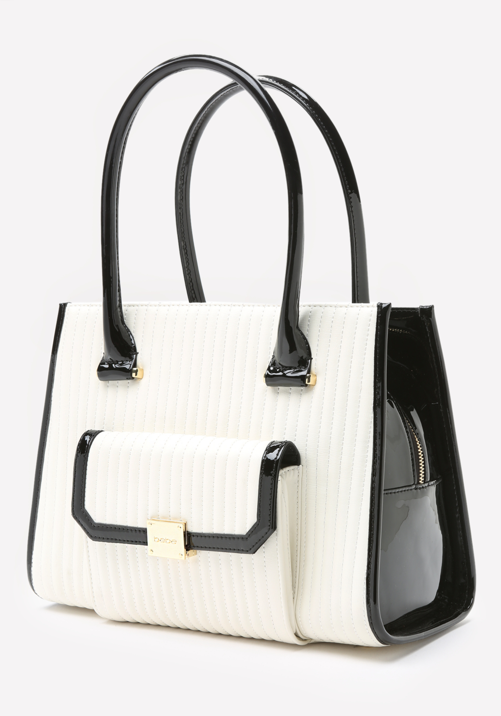 Bebe Kealie Quilted Tote in White/Black (Black)