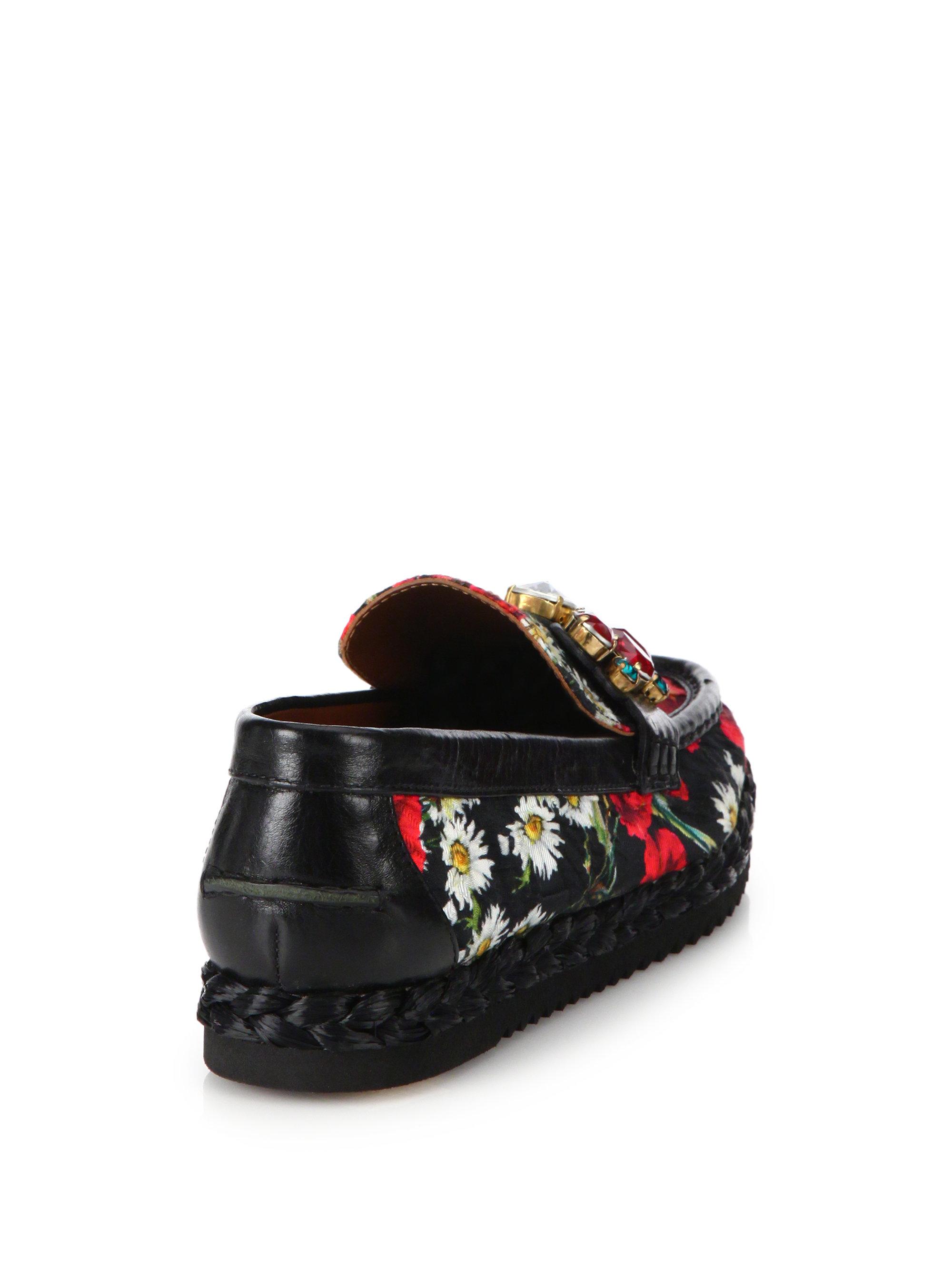 Lyst Dolce Amp Gabbana Poppy Print Jeweled Penny Loafers