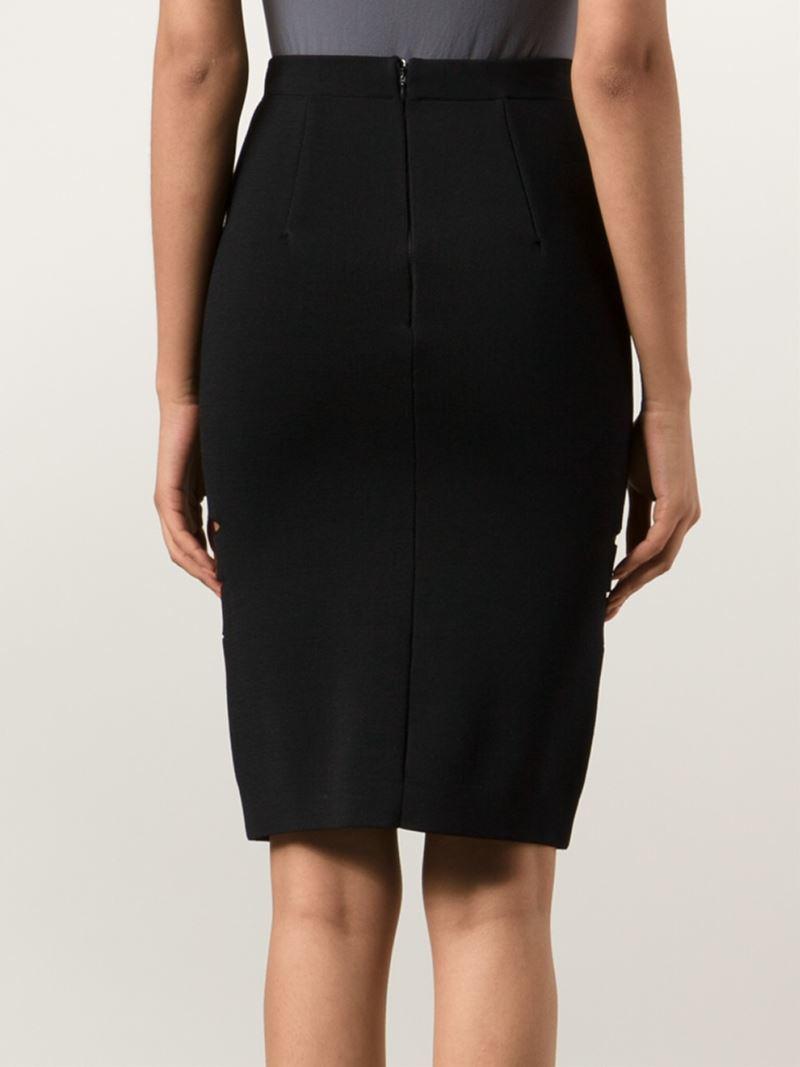 Dion lee Slit Detail Pencil Skirt in Black | Lyst