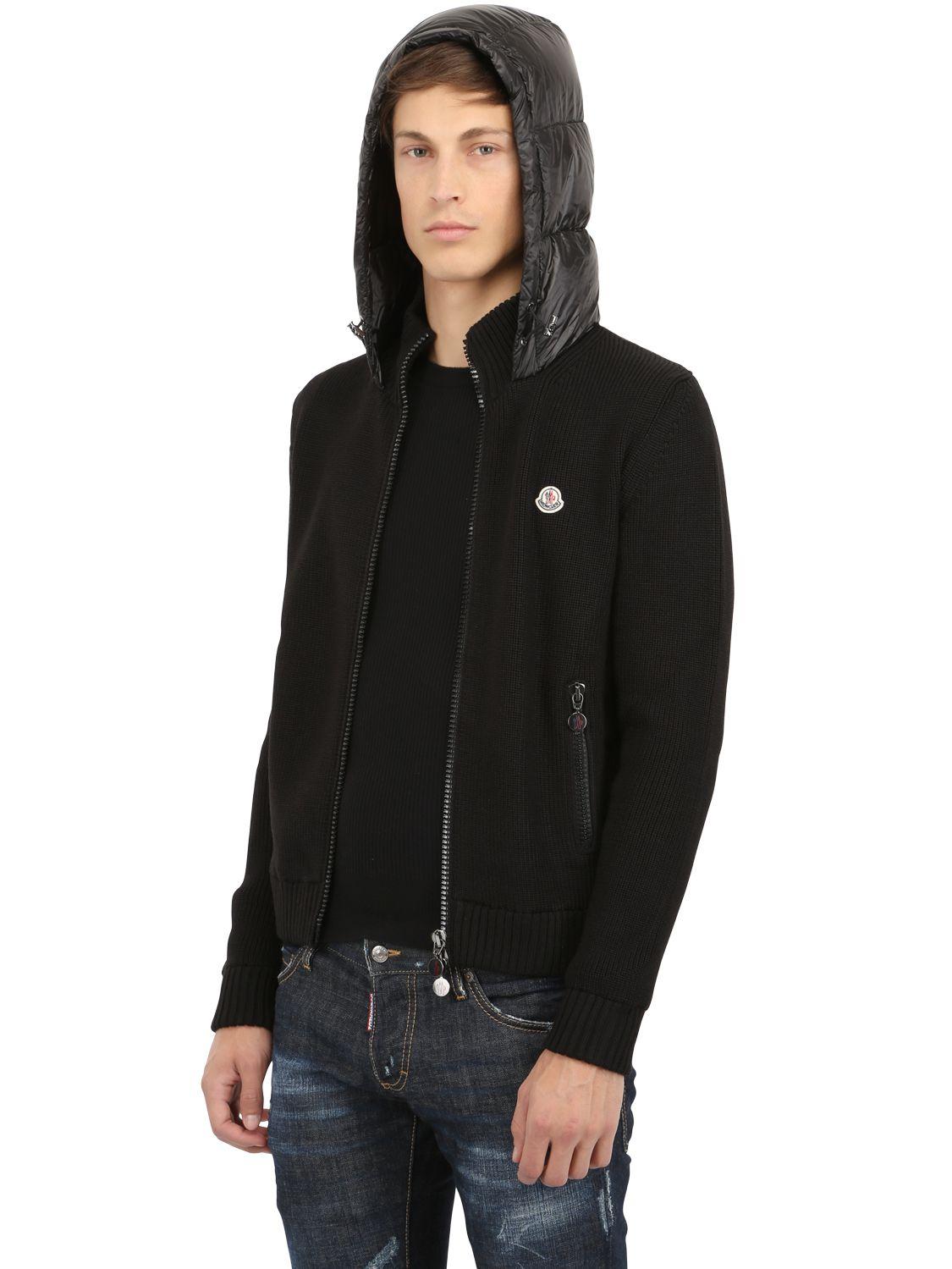 Moncler Hooded Nylon Wool Knit Down Jacket in Black for Men