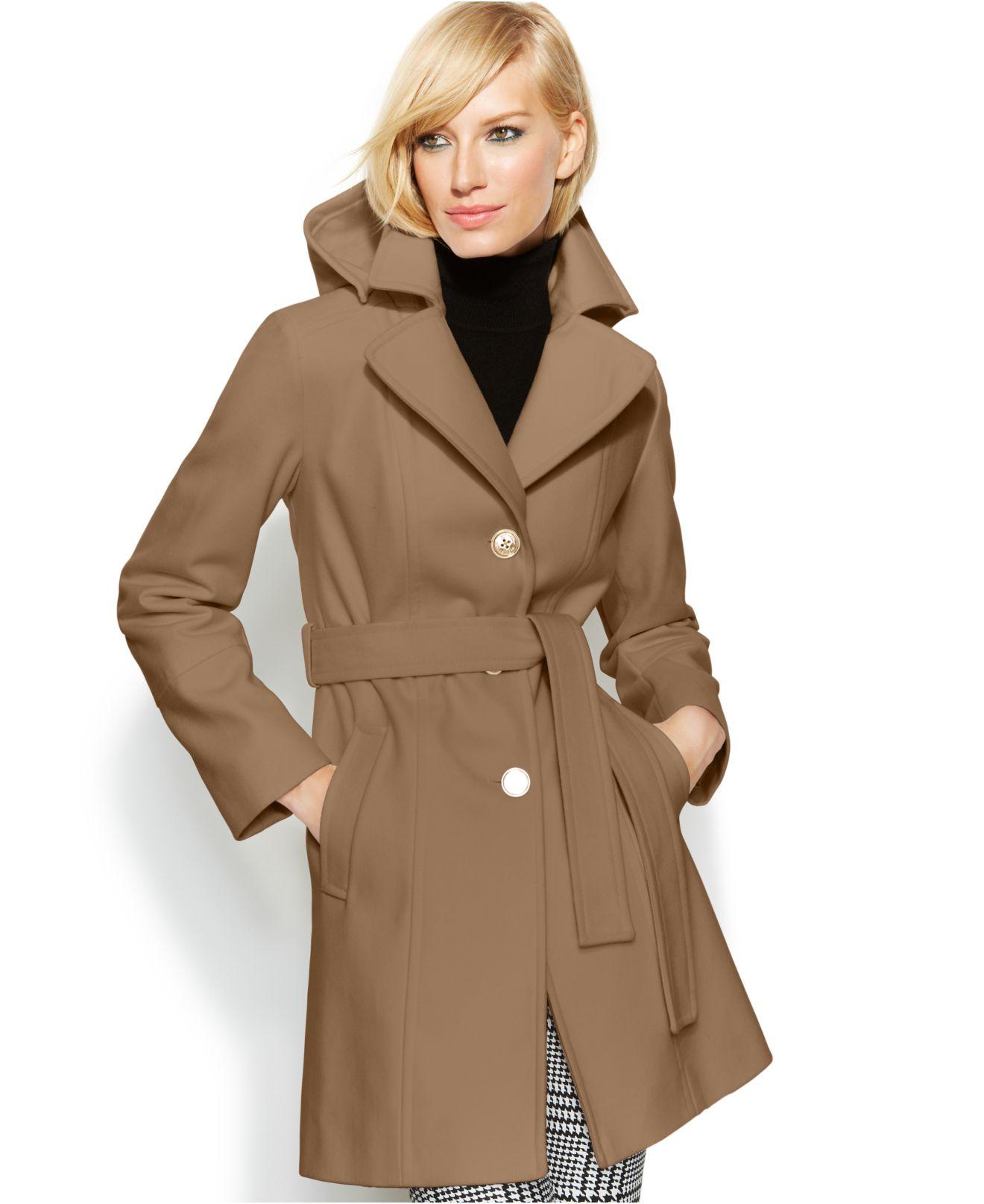 Michael kors Michael Hooded Belted Wool-Blend Coat in Brown | Lyst