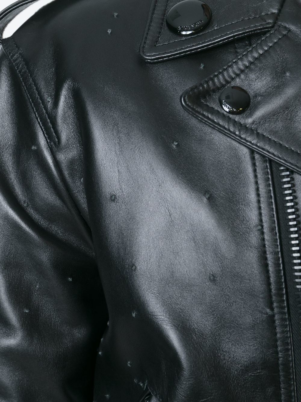 Givenchy Leather Racoon Tail Biker Jacket in Black for Men