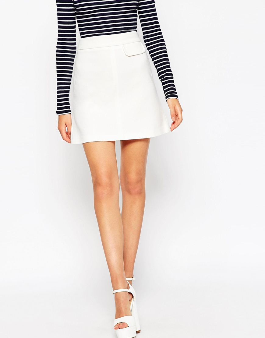 Asos A-line Skirt With Pocket Detail in White | Lyst