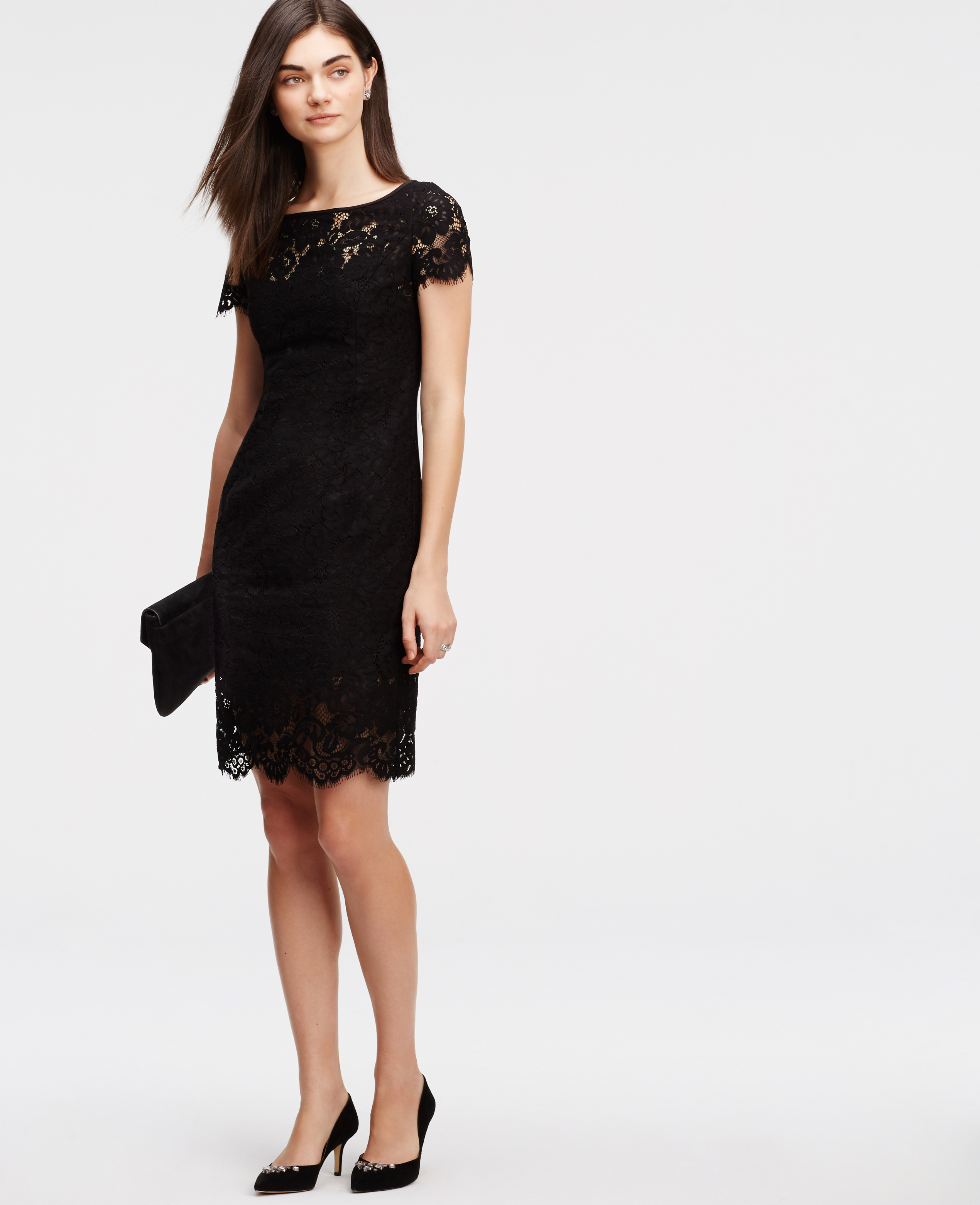 Lyst - Ann Taylor Petite Lace Sheath Dress in Black