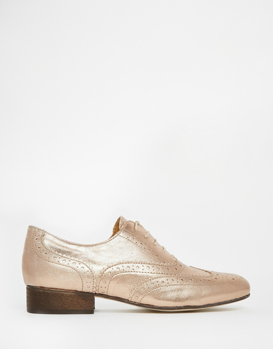 Lyst - Dune Ferne Rose Gold Leather Brogue Flat Shoes In Metallic