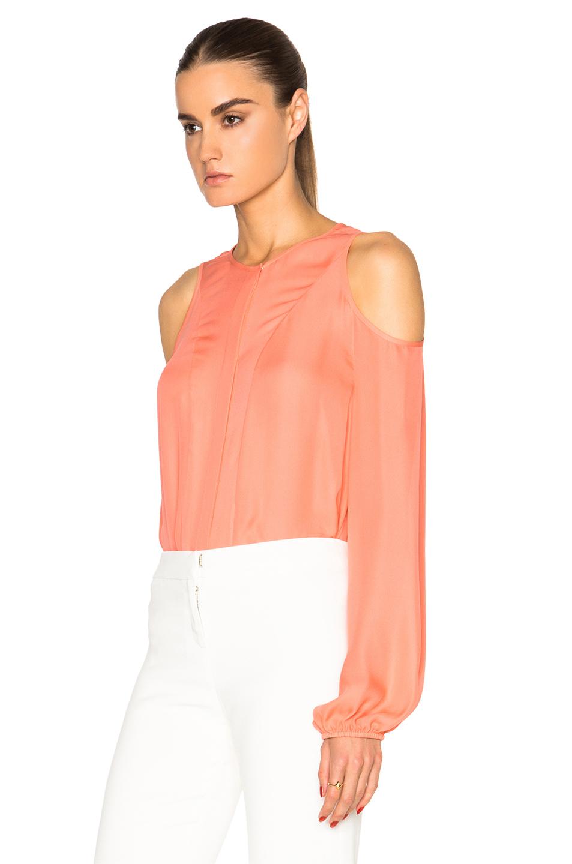 e14e13bb15a Tamara Mellon Double Georgette Cold Shoulder Blouse in Pink - Lyst