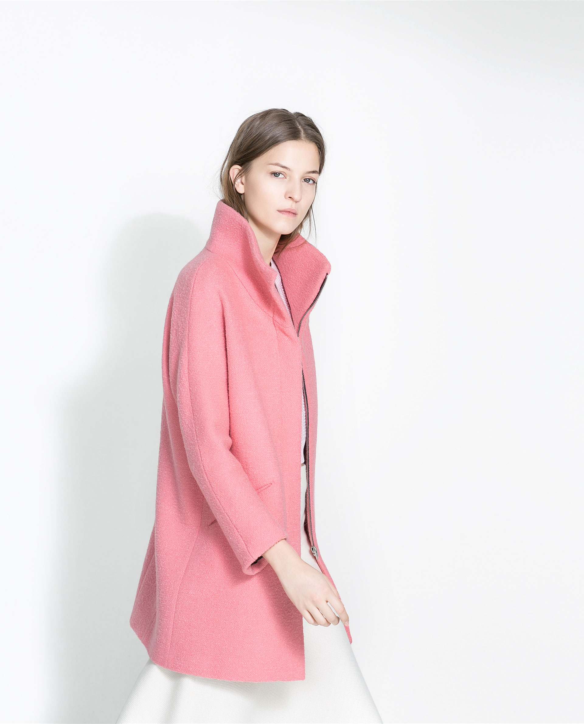 Zara Boucl 233 Coat In Pink Lyst
