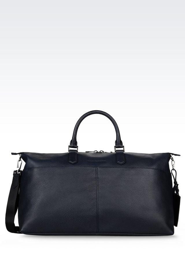 Emporio Armani Leather Weekender Bag In Dark Blue Blue
