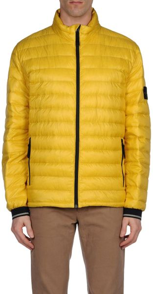 Stone Island Zipper Puffer Down Jacket In Yellow For Men