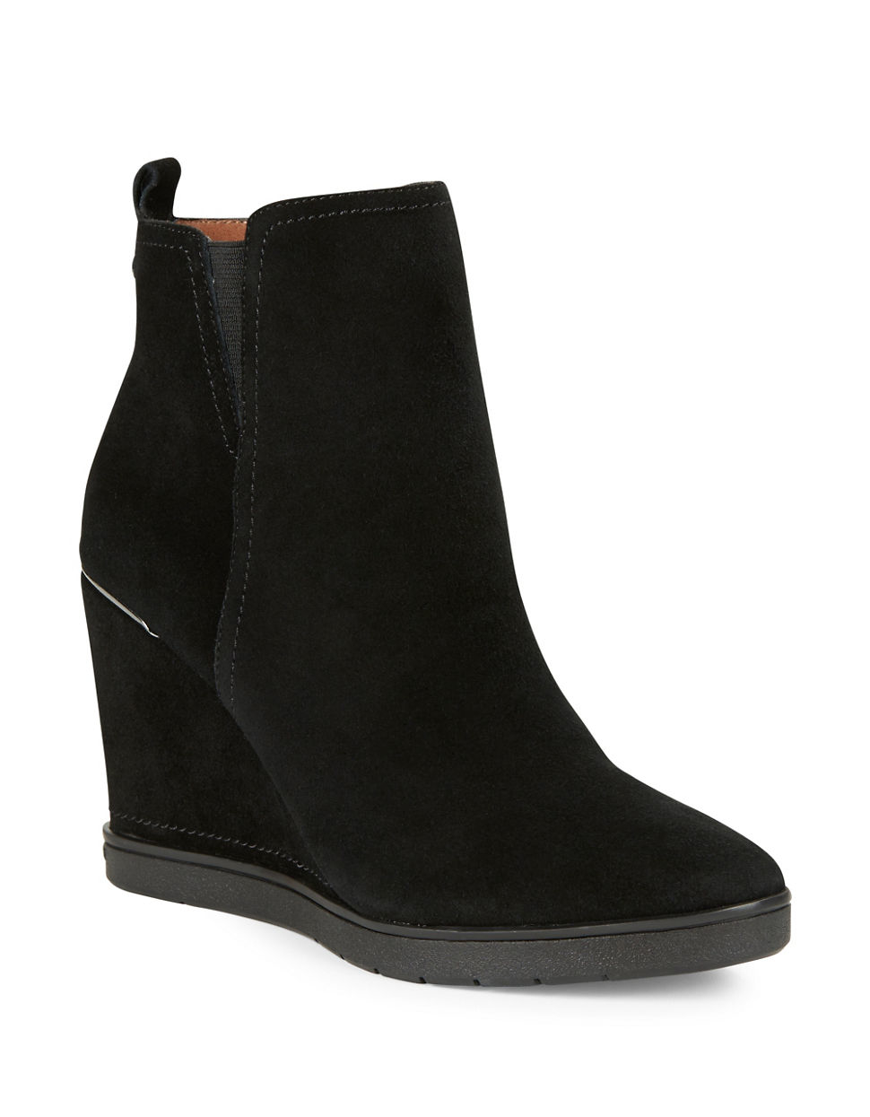 donald j pliner cascade suede wedge ankle boots in black