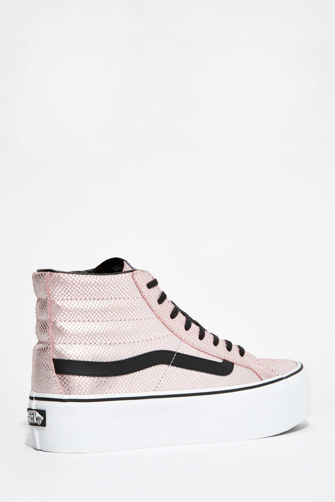 Lyst - Vans Vans Metallic Snake Sk8 Hi Platform Sneaker in Pink cdec48fd5
