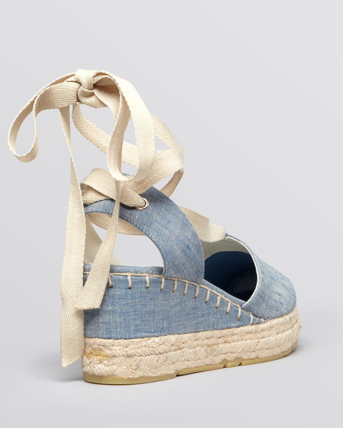 Ralph Lauren Platform Wedge Espadrille Sandals Uma In Blue