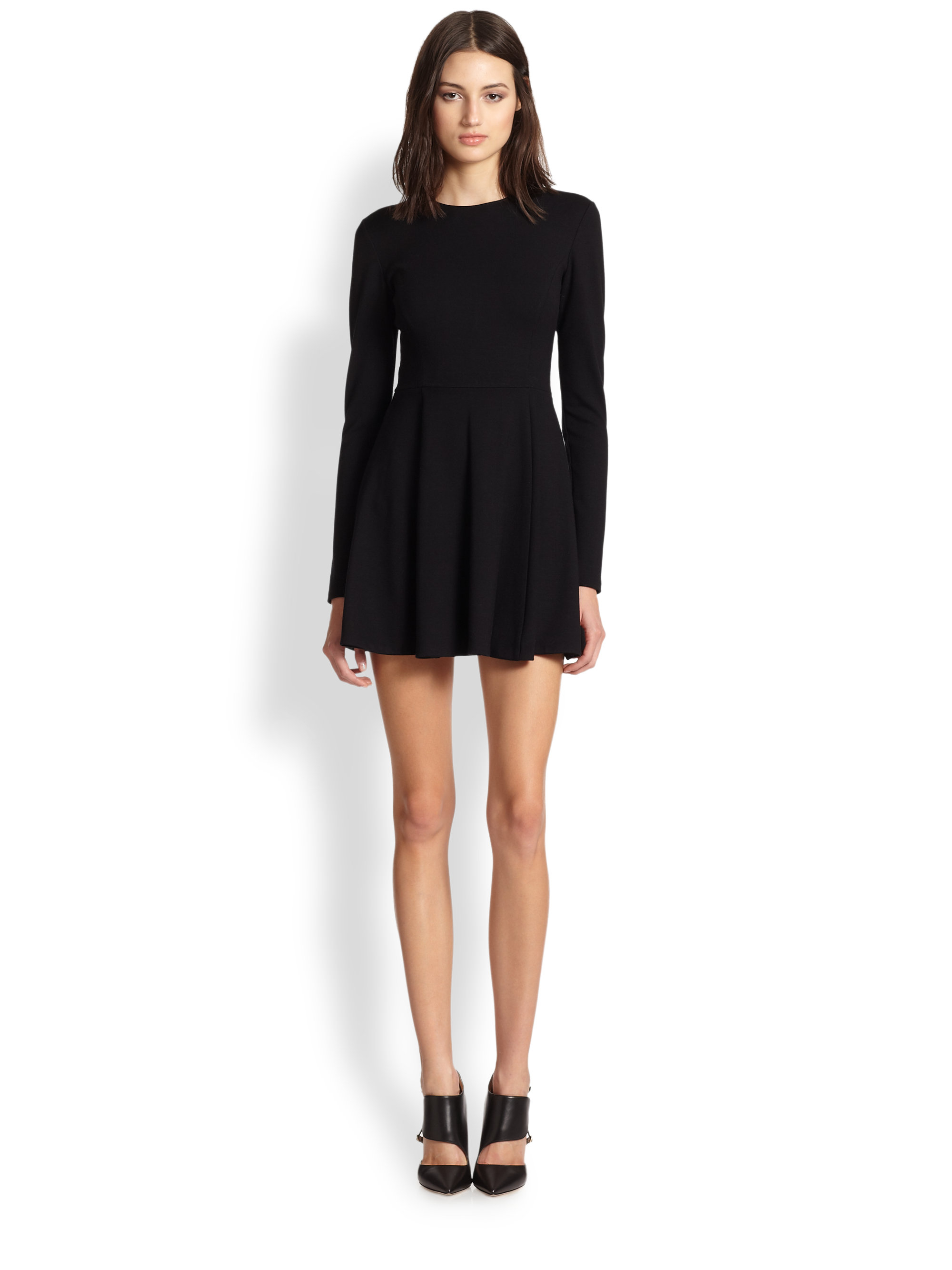Theory Tillora Long Sleeve Fit Amp Flare Dress In Black Lyst