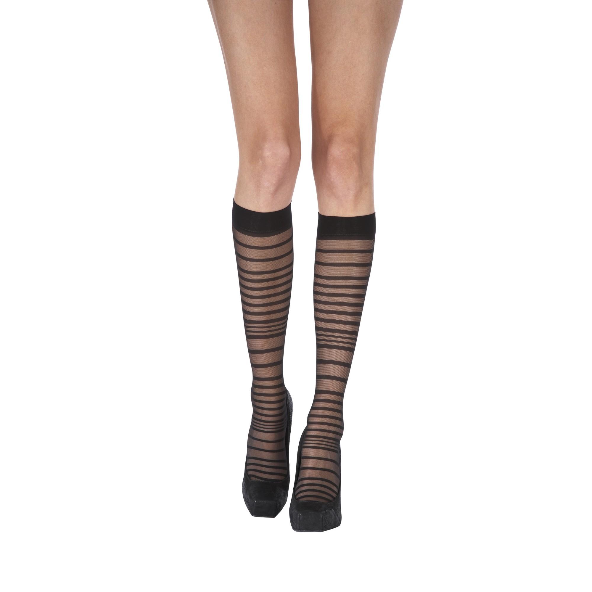 91cb37471 Pretty Polly Animal Pattern Stripe Knee High Tights in Black - Lyst