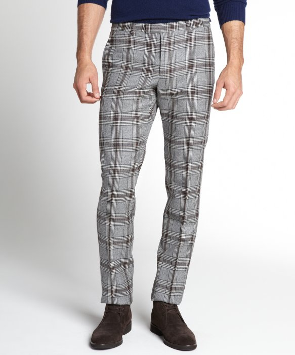 Gucci Grey Plaid Wool Pants in Gray for Men | Lyst