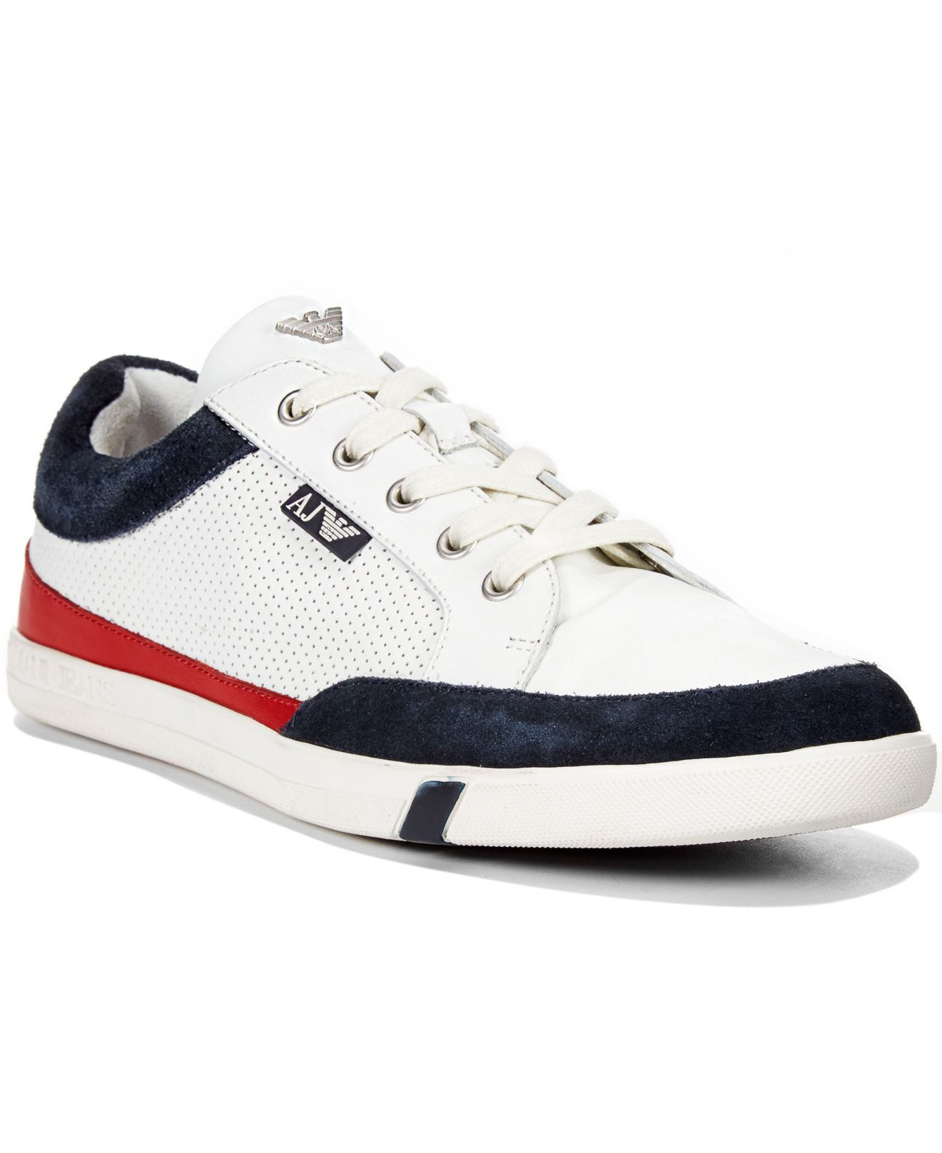 Rubber Rings For Men >> Lyst - Armani Jeans Low Top Perforated Leather Sneakers in White for Men