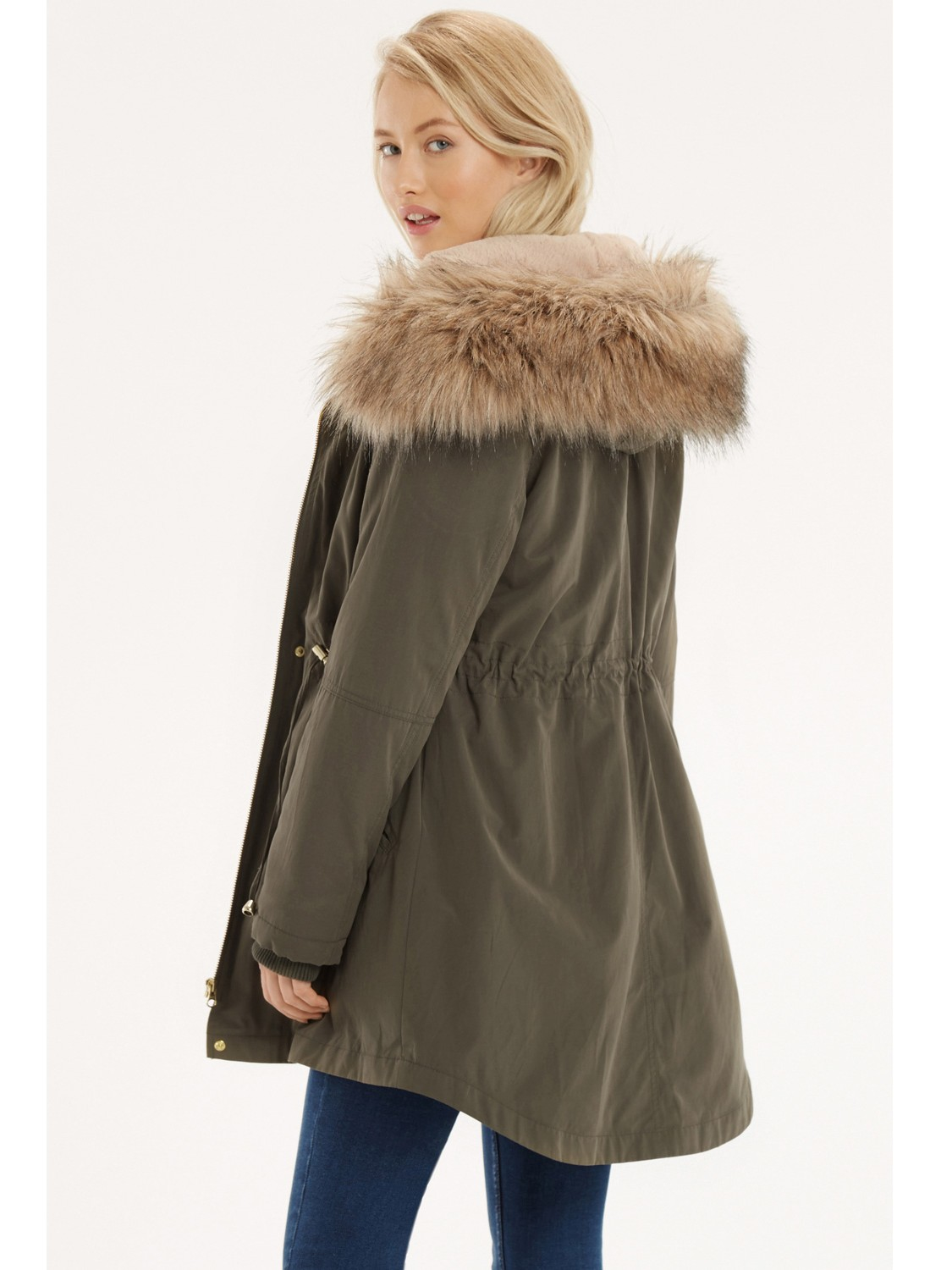 Oasis Laura Parka Coat In Natural Lyst