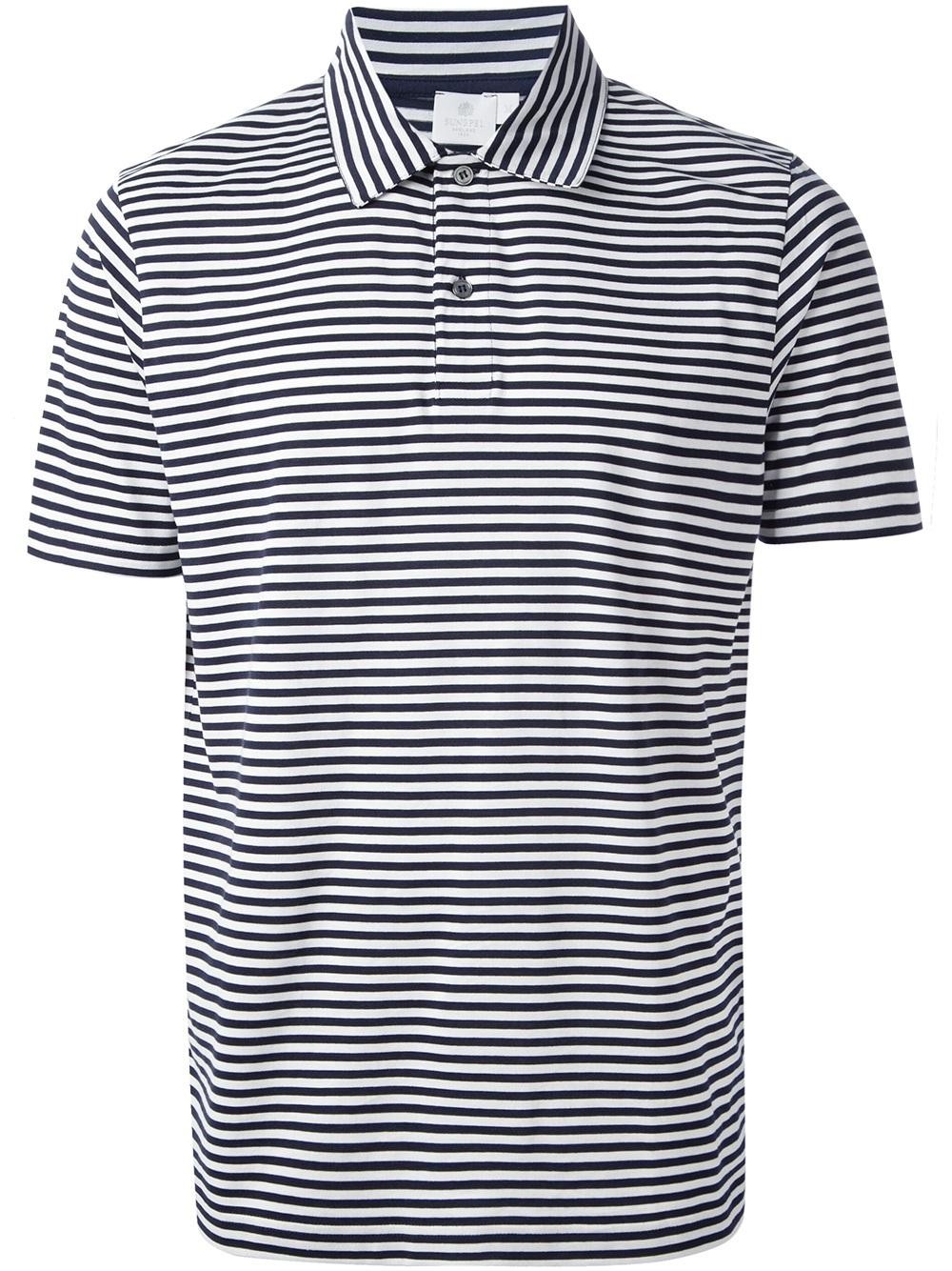 Lyst sunspel striped polo shirt in blue for men for Blue white striped t shirt mens