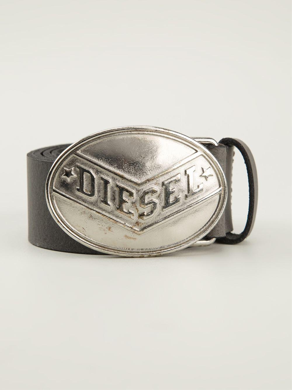 Diesel Oval Buckle Belt In Grey Gray For Men Lyst