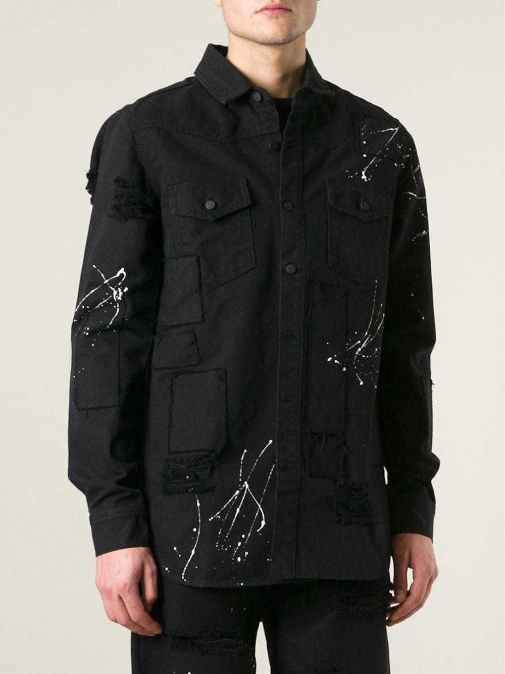 off white c o virgil abloh paint splash denim jacket in. Black Bedroom Furniture Sets. Home Design Ideas