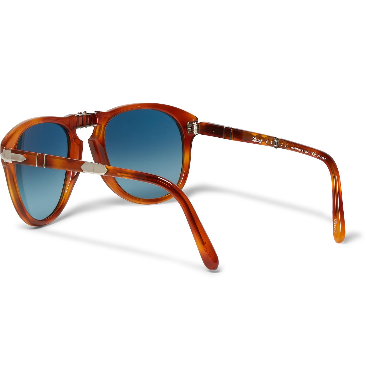 36007109227e Persol Steve Mcqueen Round-frame Folding Acetate Sunglasses in Brown ...